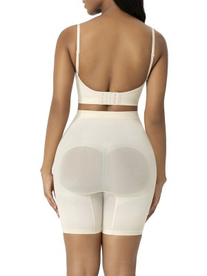 Beige High Waist Big Size Shapewear Shorts Flatten Tummy