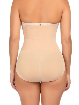 Extra Firm Control Apricot High Cut Solid Color Plus Size Panty