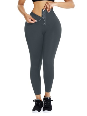 Gray Waist Trainer Leggings With Hooks Slimming Tummy