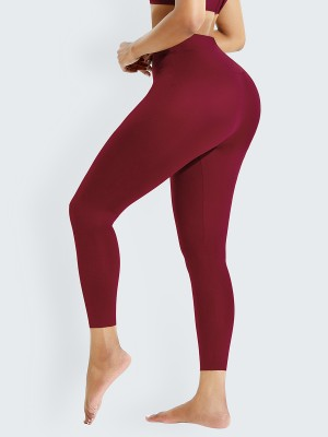 Wine Red High Waist Shaper Firm Control Leggings Flatten Tummy