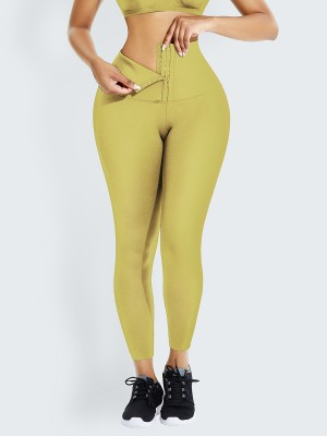 Yellow Tummy Control Shape Leggings High Waist Hourglass Figure