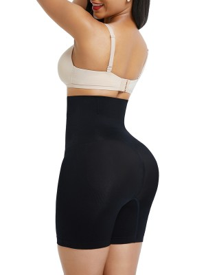 Black Seamless High Waist Mid-Thigh Shaper Shorts Instantly Slims