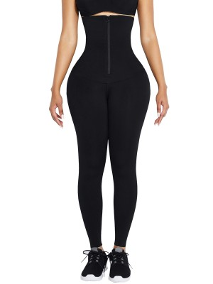 Black Waist Trainer 2-In-1 Leggings With Zipping Hourglass Figure