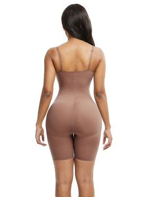 Pretty Skin Color Large Size Full Body Shaper Solid Color Close Fitting