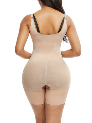 Natural Shaping Skin Color Full Body Shaper Open Crotch Straps Waist Control