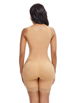 Stylish Skin Color Shoulder Latex Body Shaper Queen Size