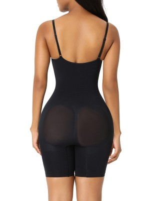 Black Seamless Plus Size Full Body Shaper Back Support