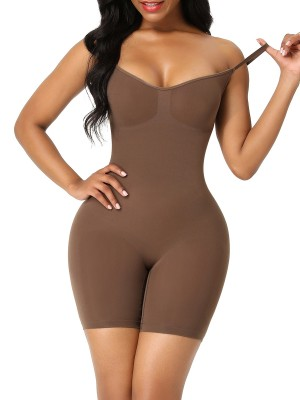 Coffee Color Body Shaper Overlap Gusset Solid Color Slimming Belly