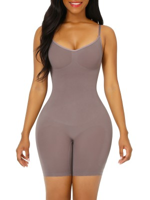 Purple Seamless Full Body Shapewear Open Gusset Compression