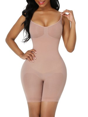 Skin Color Adjustable Sling Low Back Shapewear Bodysuit Tummy Control