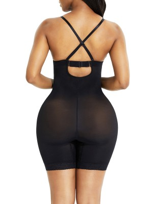 Black Full Body Shaper Wired Plunge Collar Smooth Silhouette