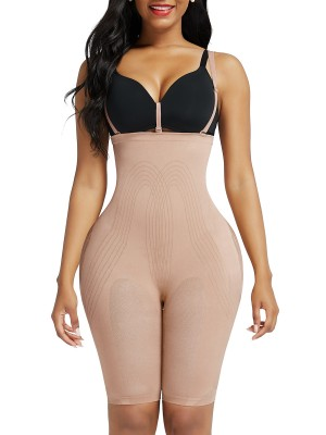 Skin Color Lengthen Shapewear Shorts Open Crotch Slim Shape
