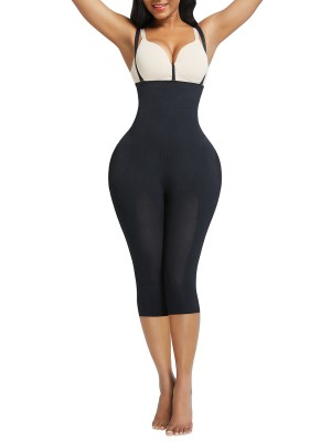 Black Plus Size Full Body Shaper With Open Crotch Hidden Curves