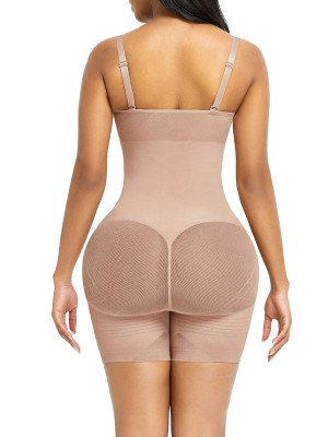 Skin Color Adjustable Straps Mesh Full Body Shaper Ultimate Stretch