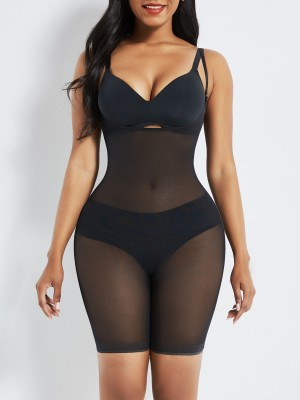 Black Removable Straps Mesh Full Body Shaper Tummy Training