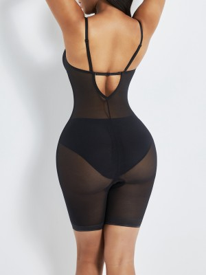 Black Open Gusset See Through Full Body Shaper Slimming Stomach