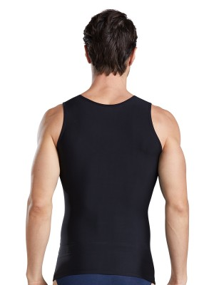 Lightweight Black Men's Tank Double Layers Round Collar Superfit