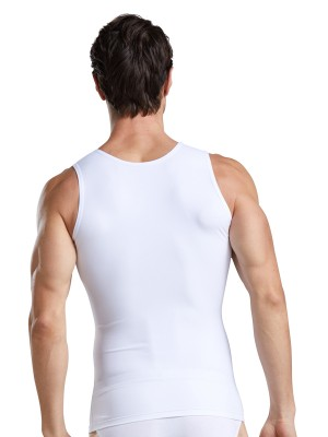 Instant Shaping White Solid Color Men's Tank Wide Straps Correct Posture