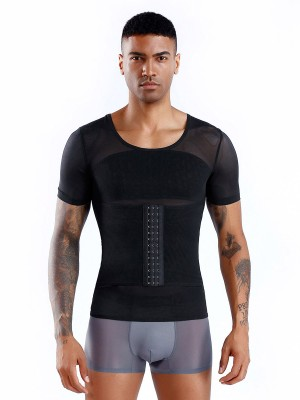 Stretchy Black Men's Shaper Pressure Band Cross Back Leisure Fashion