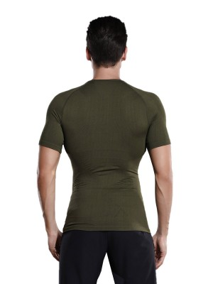 Sophisticated Green Crew Neck Solid Color Men's Top Shaper Hidden Curves