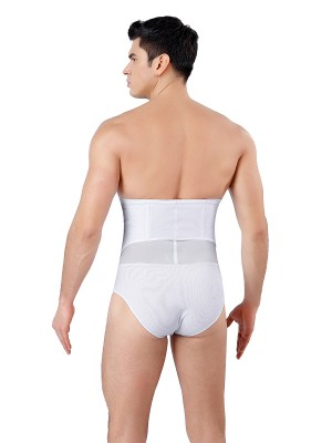 Curve-Creating White Men 3 Rows Hooks Shapewear Pants