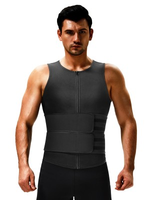 Black Mens Neoprene Sauna Vest Ddouble Belt Hourglass Figure