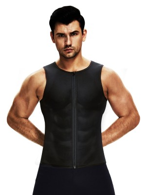 Black Men's Neoprene Slimming Vest With Zipper Compression