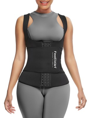 Tummy Control Black Neoprene Waist Trainer Vest With Sticker