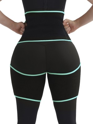 Plain Light Green Tummy Control Thigh Slimmer Neoprene Slim Waist