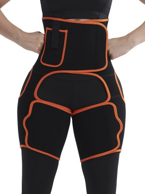 Sheer Orange Sweat Tight Trimmer High Waist Pocket Close Fitting