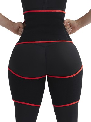 Sleek Red High-Waist Thigh Trimmer With Pocket Cool Curve Slimmer