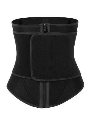 Black Neoprene Waist Trainer 10 Steel Bones Basic Shaping