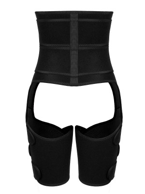 Stretchy Black Double Belts Solid Color Thigh Shaper Slimming Belly