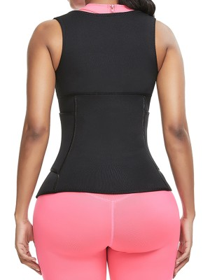 Curve-Creating Black 3-Row Hooks Neoprene Waist Trainer Vest