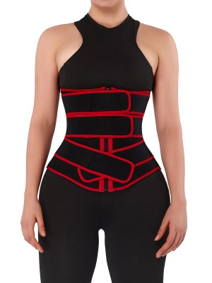 Compression Silhouette Red Sweat Waist Trainer With Three-Belt
