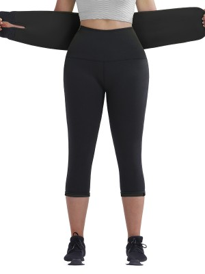 Black Big Size Neoprene Shaper Pants With Belt Smoothlines