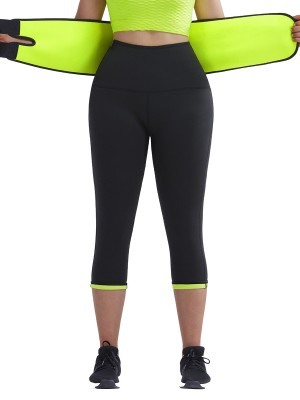Firm Control Green Neoprene Shaper Pants With Waist Belt