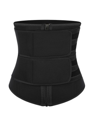 Black Neoprene Waist Trainer Detachable Belts Big Size Fat Burning