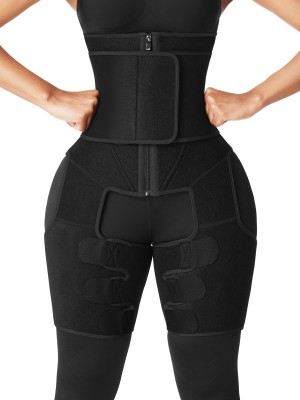 Black Neoprene Waist And Thigh Shaper Zipper Flatten Tummy