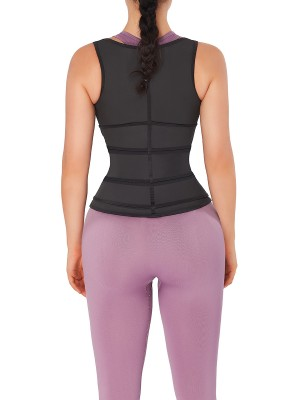 Practical Black Latex Waist Trainer Vest Three Belts Basic Shaping