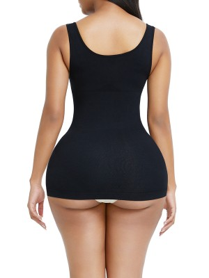 Black Seamless Tank Tops Open Bust Hip Length Basic Shaping