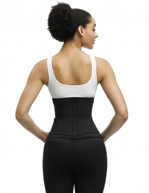 Black Plus Size Latex Waist Trainer 7 Steel Bones Leisure Fashion