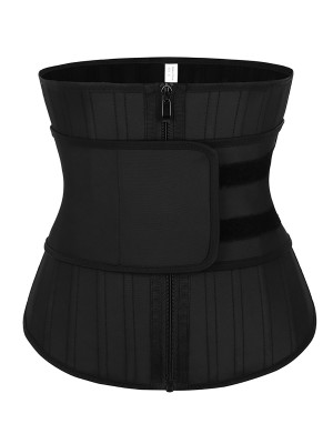 Tummy Control Black 25 Steel Bones Sticker Zip Latex Waist Trainer