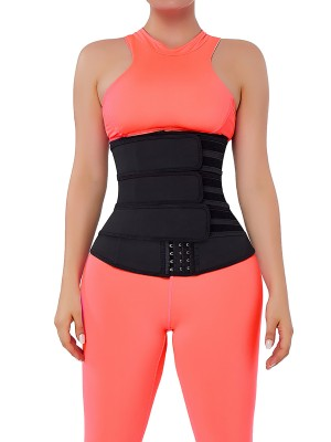 Graceful Black Hooks Latex Three-Belt Waist Trainer Anti-Slip