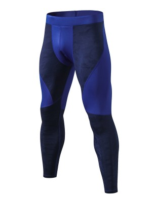 Handsome Navy Blue Fast Drying Sports Leggings Patchwork