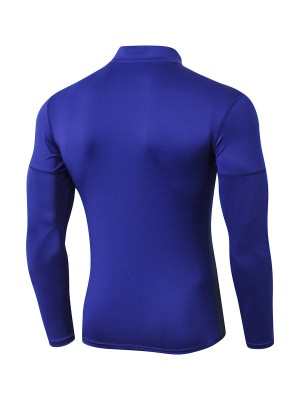 Ultra-Skinny Navy Blue Long Sleeve Men's Athletic Top Ultimate Comfort