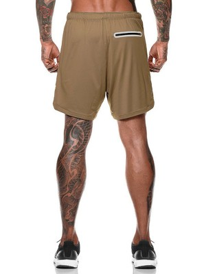 Exclusive Khaki Solid Color Men's Running Shorts Preventing Sweat