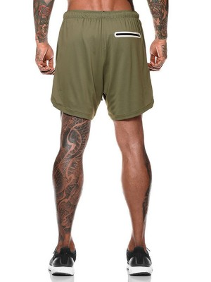 Ultra Skinny Green Sports Shorts Side Pockets Drawstring Smooth