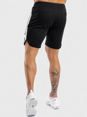 Athletic Black Shorts Contrast Color High Waist Stretchy