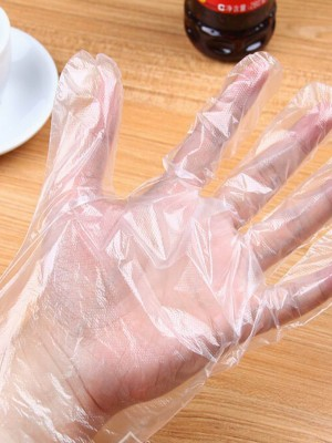 50Pcs Transparent Plastic Gloves Anti-Dirty